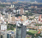 Aerial view of Kuala Lumpur, capital city of Malaysia.