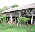 The exterior of the Rungus Longhouse in Sabah.